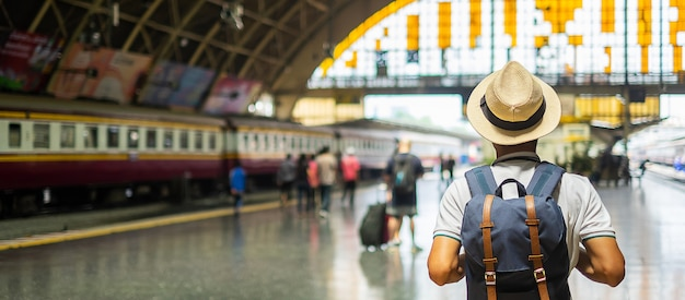 Bangkok traveler in station Premium Photo