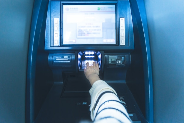 In the bank atm operation, enter the password Free Photo