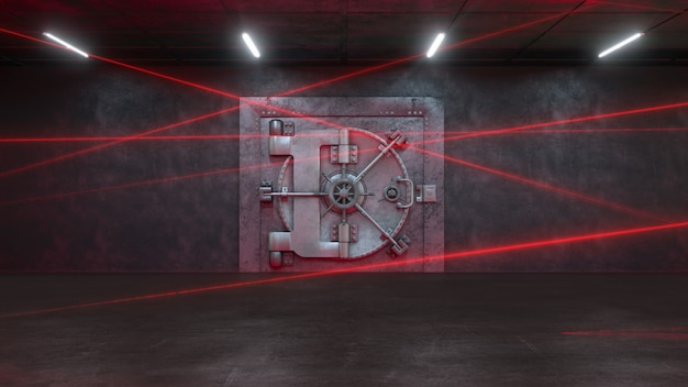 Дверь банка охраняется лазерной системой Premium Фотографии