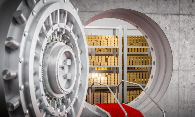 Банковское хранилище 3d изображение Premium Фотографии
