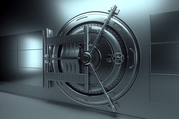 Дверь банковского хранилища, большой сейф, прочный металл. концепция банковских вкладов, депозитов, ячеек, хорошая защита сбережений. скопируйте космос, иллюстрация 3d, 3d представляет. Premium Фотографии
