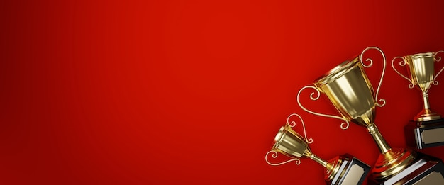 Banner with gold trophy award with copy space Premium Photo