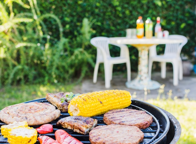 Barbecue party on backyard Free Photo