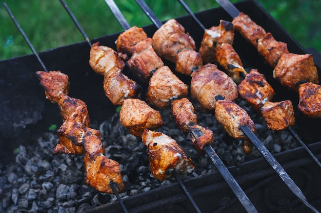 Barbecue of pork is prepared on skewers on the grill Premium Photo