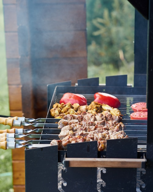 Barbecue shashlik kebab with winglets and tomatoes with roasted pepper in chargrill on skewer Premium Photo