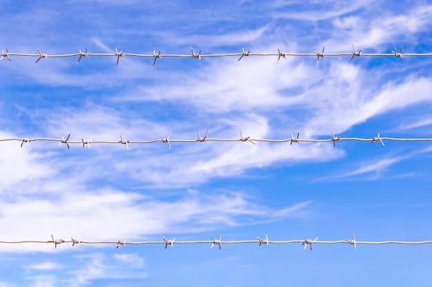 Barbed wire wall on the background of the sky Premium Photo