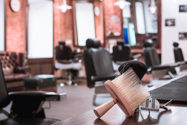 Barber shop equipment on wooden table Free Photo
