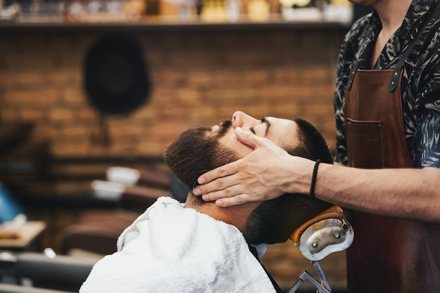 Barbershop hairdresser and hair salon Premium Photo