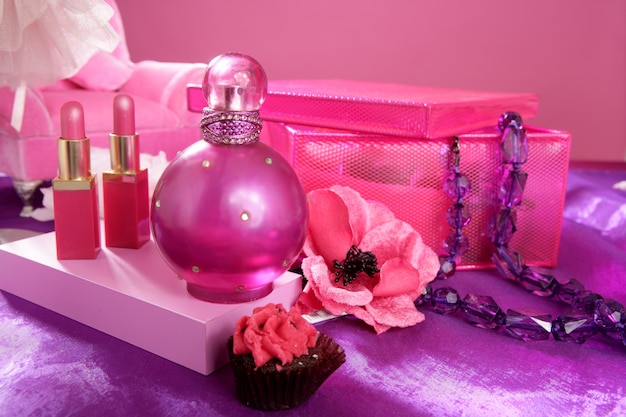 Barbie style fashion makeup vanity dressing table Premium Photo