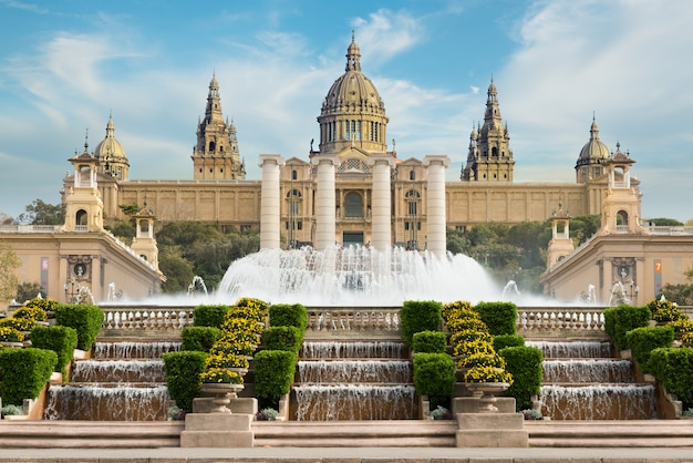 Barcelona placa de espanya, the national museum with magic fountain in afternoon at barcelona. spain Premium Photo