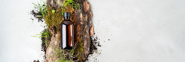 Bark tree, tiny mosses and grass of organic cosmetic products in glass brown bottle Premium Photo