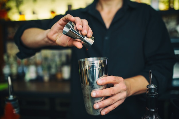 Barman at work in the pub Free Photo