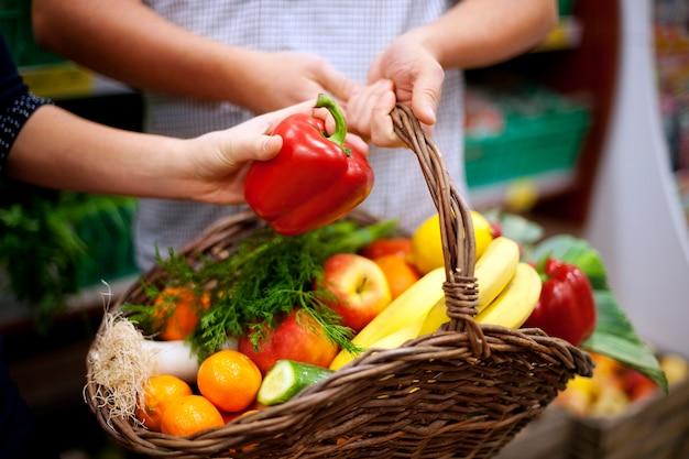 Basket filled healthy food Free Photo
