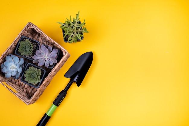 Basket of flowers with black shovel Free Photo