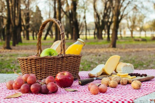 Basket full of goodies outdoors Free Photo