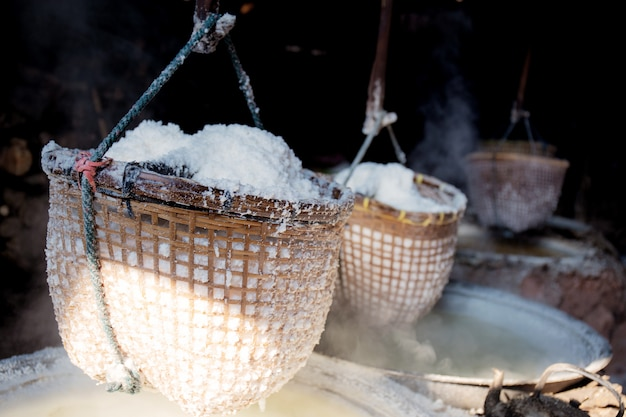 Basket salt hanging at home. Premium Photo