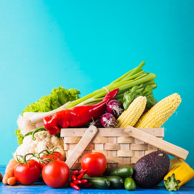 Basket with assortment of raw vegetables Free Photo
