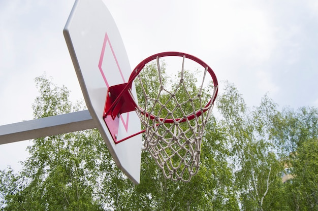 Basketball hoop in the park on a background green trees Premium Photo