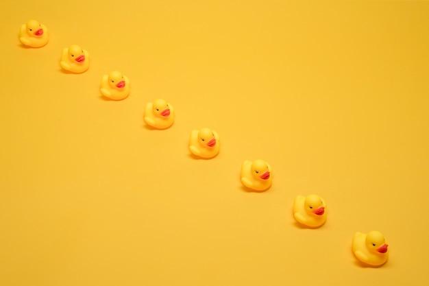 Bath ducks in a row Free Photo