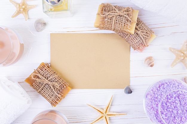 Bathroom accessories. spa and beauty theatment products. concept of natural spa cosmetics and organic threatment bodycare. top view Premium Photo