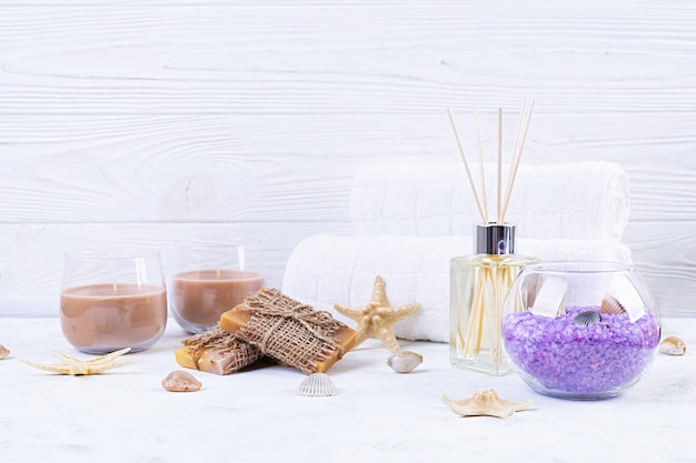 Bathroom accessories. spa and beauty theatment products. concept of natural spa cosmetics and organic threatment bodycare. Premium Photo