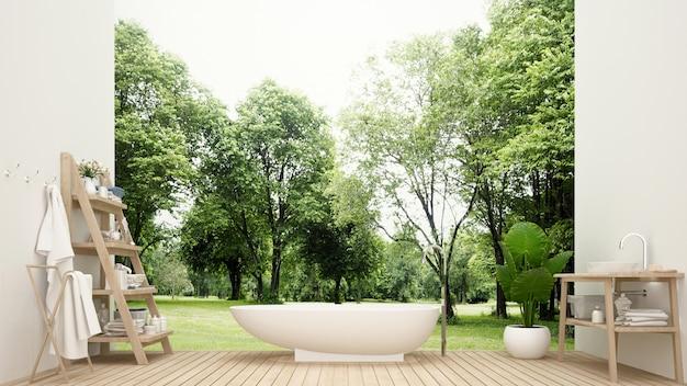 호텔의 욕실 및 숲 전망 프리미엄 사진