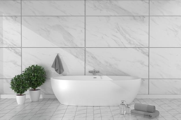 Bathroom interior bathtub in ceramic tile floor on granite tiles wall background. 3d rende Premium Photo