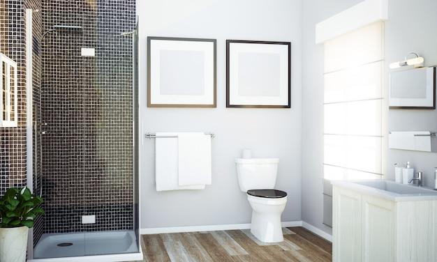 Ванная комната с двумя белыми рамками макет Premium Фотографии
