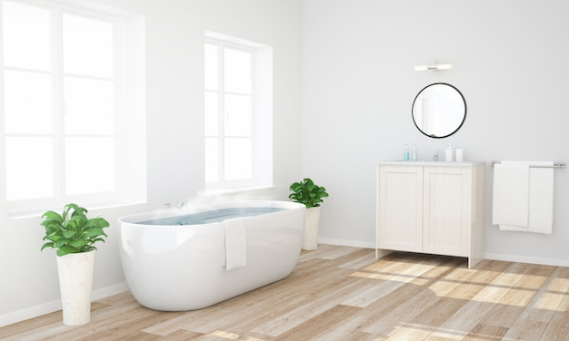 Bathroom with warm water ready to have a bath Premium Photo