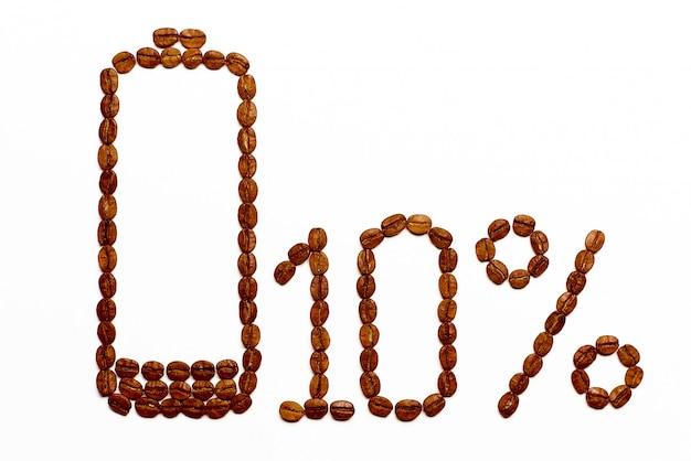 Заряд батареи 10% от кофейных зерен Premium Фотографии