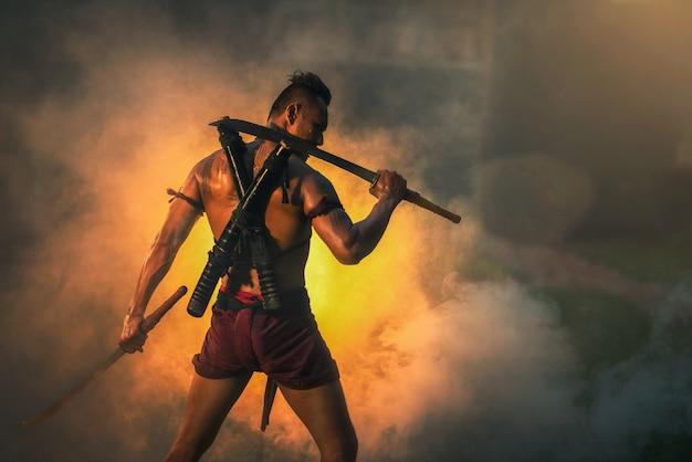 On the battlefield, traditional warrior in thailand Premium Photo
