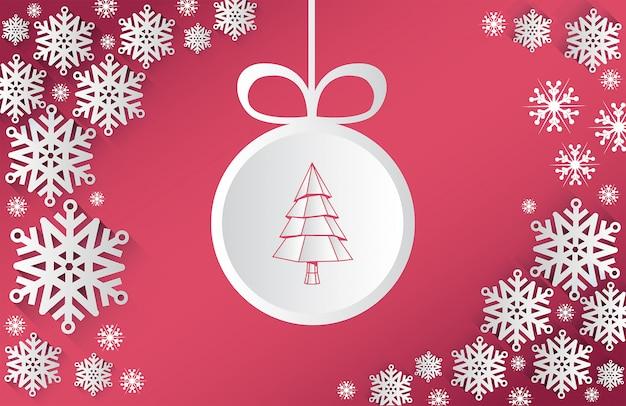 クリスマステーマベクトル、雪片とbauble Premium写真