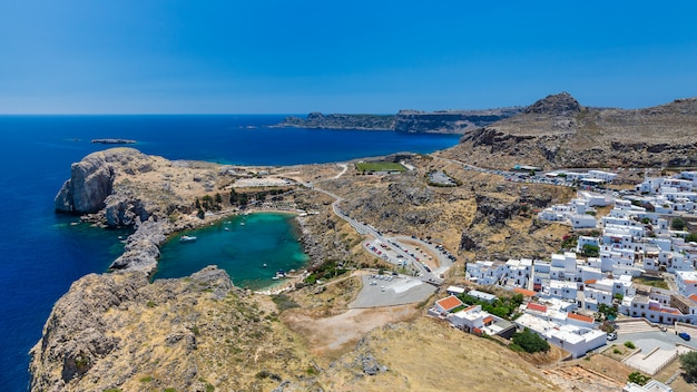 Bay of st. paul. view from the acropolis of the city of lindos. rhodes, greece Premium Photo