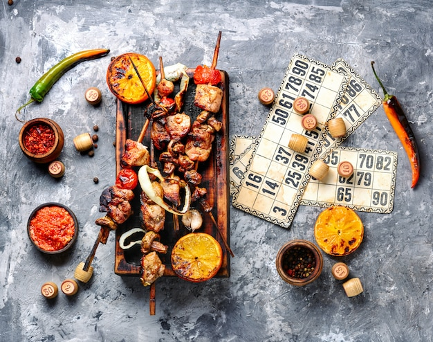 Bbq meat and lotto game Premium Photo