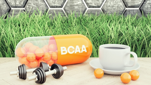Bcaa branched-chain amino acid capsiule, two dumbbells and a cup of coffee. sport nutrition for bodybuilding 3d illustration Premium Photo