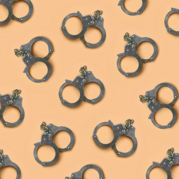 Bdsm and sex games concept. many handcuffs Premium Photo