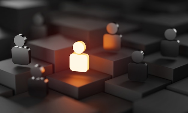 Be different 3d concept, one man glowing among other people in dark condition Premium Photo
