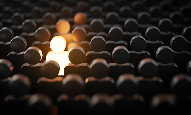 Be standout 3d concept, one man glowing among other people in dark condition Premium Photo