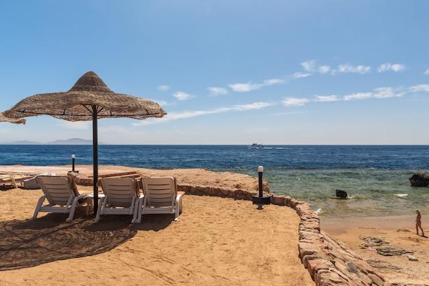 エジプト、シャルムエルシェイクの高級ホテルのビーチ 無料写真
