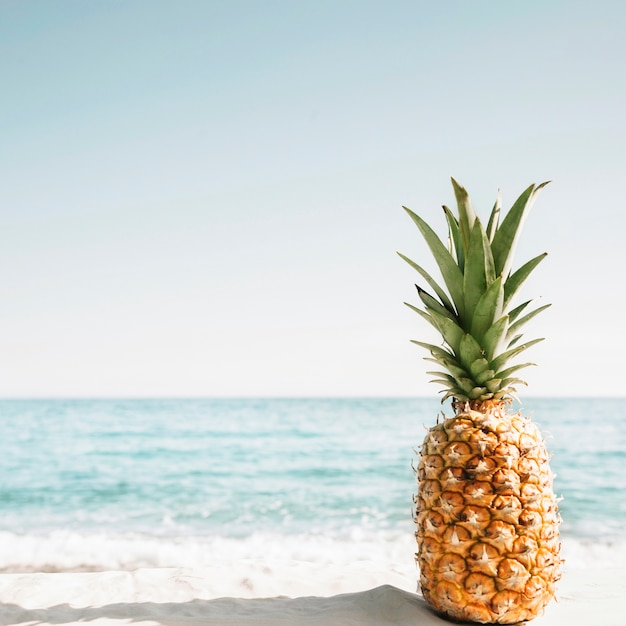 Beach background with pineapple Free Photo