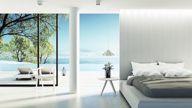 Beach bedroom interior Premium Photo