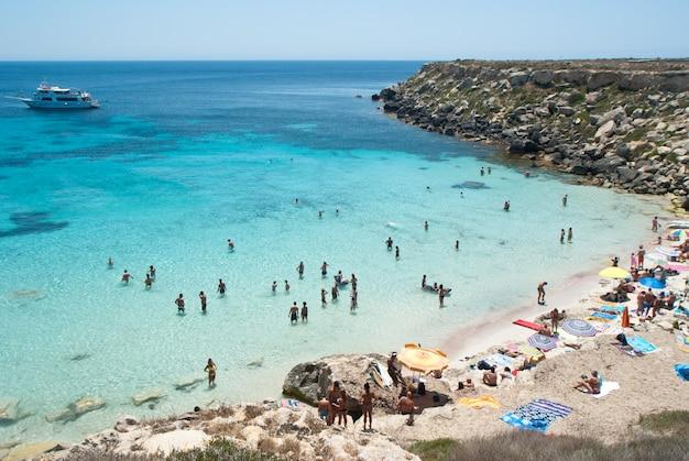 Beach of favignana. aegadian island Premium Photo