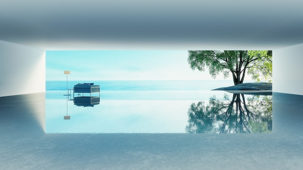 Beach living  - ocean villa seaside & sea view for vacation and summer / 3d rendering Premium Photo