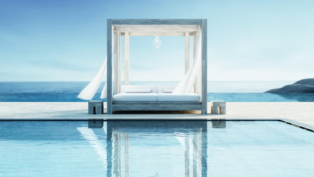 Beach lounge - ocean villa on sea view for vacation and summer Premium Photo