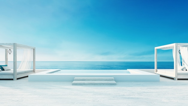 Beach lounge - ocean villa seaside & sea view for vacation and summer / 3d render outdoor Premium Photo