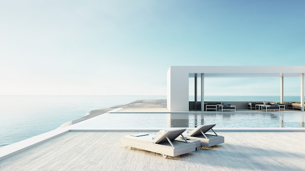 Beach lounge outdoor pool & luxury interior/ 3d rendering Premium Photo
