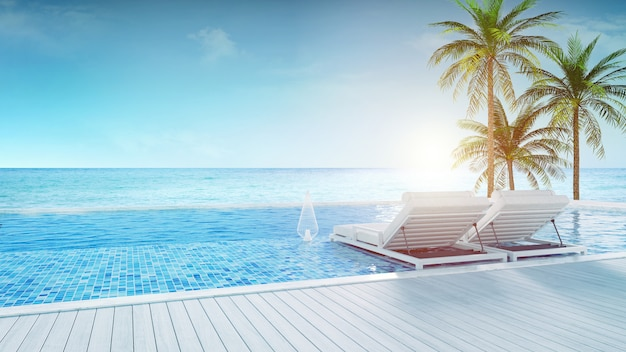 Beach lounge ,sun loungers on sunbathing deck and private swimming pool with  panoramic sea view at luxury villa/3d rendering Premium Photo