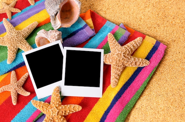 Beach with blank instant photos Free Photo