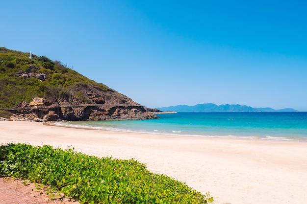 岩だらけの島の近くの海とビーチ Premium写真