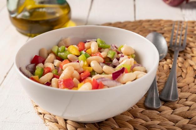 Bean salad mix front view Premium Photo